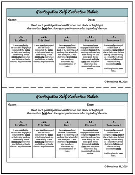 Participation Self-Evaluation Rubrics