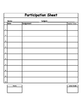 Participation Sheet
