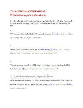 Participial Phrase Assessment CCSS.L.8.1.A.