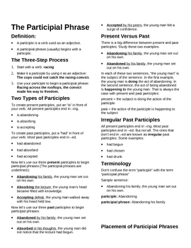 Participial Phrases Participial Phrases