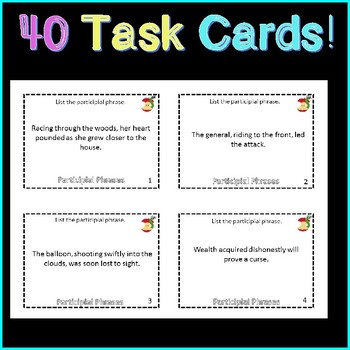 Participial Phrases Task Cards!  Plus 10 Fun Games!