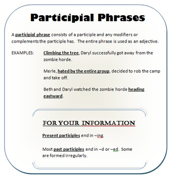 Participial Phrases Teaching Resources Teachers Pay Teachers