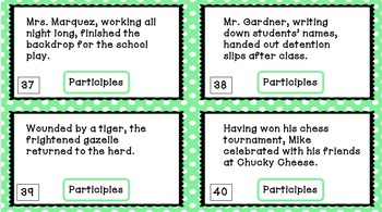 Participle Task Cards (Verbals) - Common Core aligned