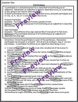 Participles - a Common Core verbals worksheet