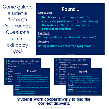 Participles (Participial Phrases) Review Game