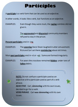 Participles Writer's Notebook Entry
