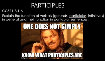 Participles and Their Functions PowerPoint with Memes - Co