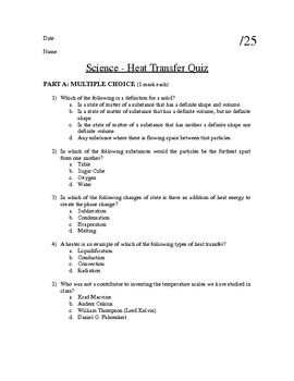 Particle Theory of Matter- Heat Transfer Quiz
