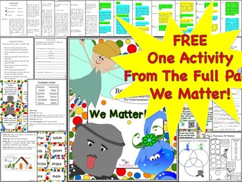 "Particles Of Matter, Free! Solids Liquids And Gases( From""We Matter!"" Full Pack)"