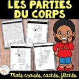 Parties du corps - mots croisés, cachés, fléchés - French Body Parts