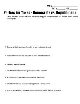 Parties for Taxes - Democrats vs. Republicans Reading