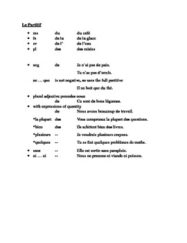Partitif (French Partitive Article) Study Guide and Test