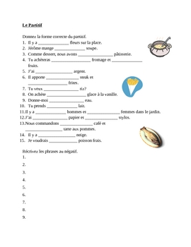 Partitif (French Partitive article) worksheet 2