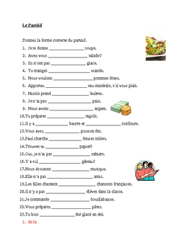 Partitif (French Partitive article) worksheet 3