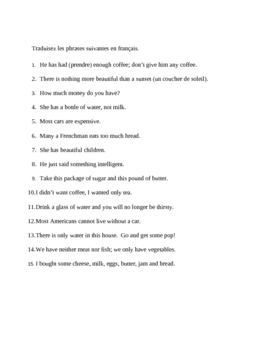 Partitif notes and translation (French Partitive article) worksheet