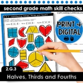Partition Into Halves, Thirds, and Fourths | Second Grade Math 2.G.3