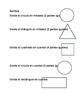 Partition Shapes into Equal Parts (Spanish)