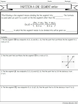 Partition A Line Segment Guided Notes Worksheets Tpt