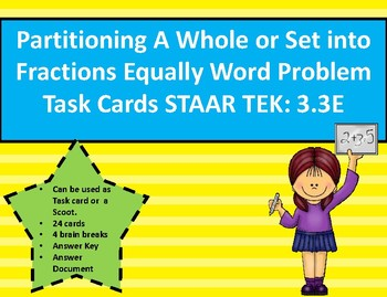 Partition a Whole/Set into Fractions Word Problem Task Car