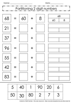 Partitioning 2 digit numbers by Tarrific Teaching | TpT