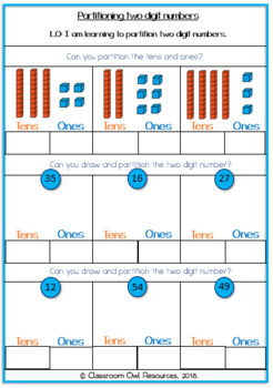 Partitioning 2 digit numbers Worksheets