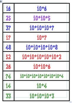 Partitioning 2-digit numbers matchup