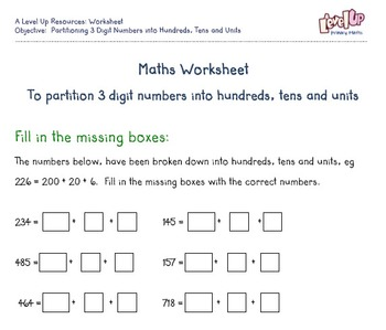 Partitioning 3 digit number pack