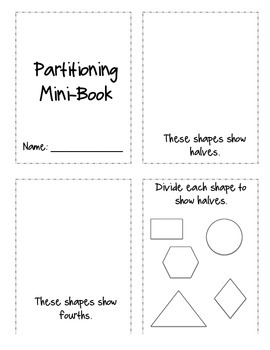 Partitioning Halves and Fourths Mini Book