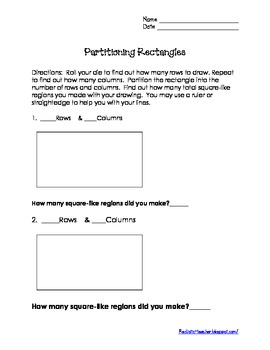 Partitioning Rectangles Fraction Activity