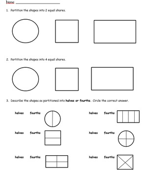 Partitioning Shapes Assessment - 1.G.A.3 (word doc.)