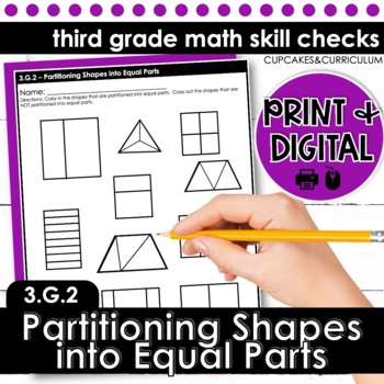 Partitioning Shapes Into Equal Parts - Third Grade Print and Go