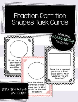 Partitioning Shapes Task Cards - Fractions
