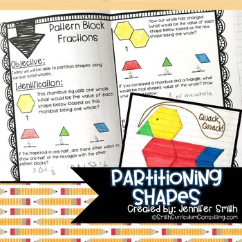 Partitioning Shapes into Fractions Lesson for Interactive Notebooks