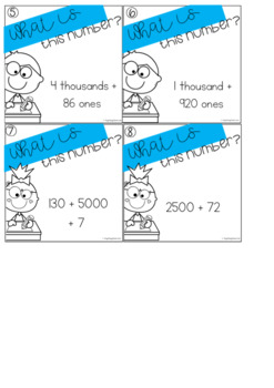 Partitioning Task Cards - 4 Digit Numbers