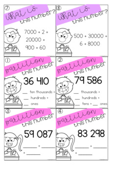 Partitioning Task Cards - 5 Digit Numbers