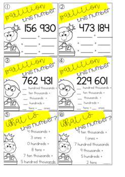 Partitioning Task Cards - 6 Digit Numbers