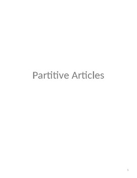 Partitive Articles Notes and Practice Worksheet