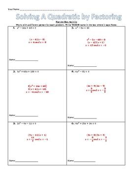 Partner Box Activity - Solving Quadratics by Factoring