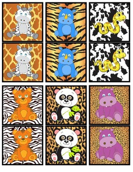 Partner Cards- Animals- 30 Pairs with Animal Print Backgrounds