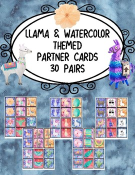 Partner Cards- Llamas/Southwestern Themed with Watercolor Backgrounds