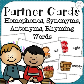 Partner Cards Set 1 homophones, synonyms, antonyms, and rhyming words