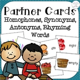 Partner Cards Set 1 homophones, synonyms, antonyms, and ho