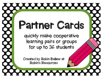 Partner Cards for cooperative learning groups or pairs