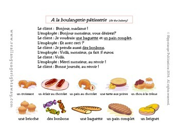 French Partner Conversation : A la boulangerie-patisserie