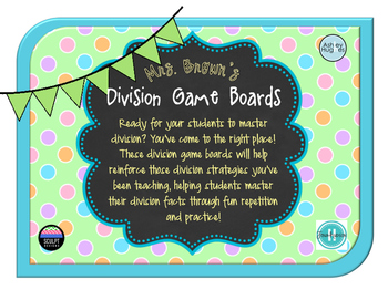 Partner Division Board Games for Facts 2-12!