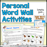 Sight Word Games and Activities for Personal Word Walls