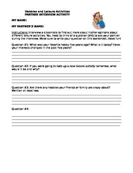Partner Interview- Hobbies and Leisure Activities