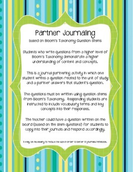 Partner Journaling based on Bloom's Taxonomy