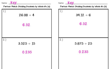 Partner Match:  Dividing Decimals by Whole Numbers