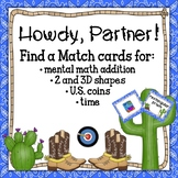 Partner Match up with Shapes, Coins, Time, and Addition Facts